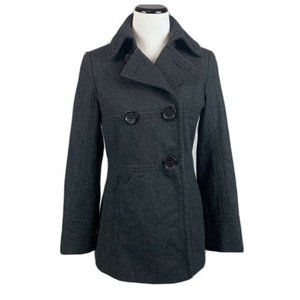 Kenneth Cole Reaction Wool blend charcoal pea coat